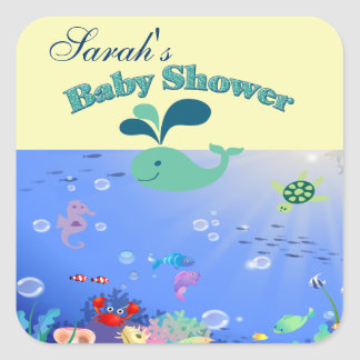 Underwater Adventure Baby Shower Boy Or Girl Square Sticker