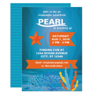 Underwater Adventure Party 5x7 Invitations