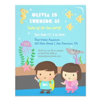 "Underwater Animals Aquarium Kids Birthday Party 4.25"" X 5.5"" Invitation Card"