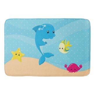 Underwater animals bath mats
