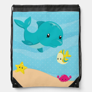 Underwater animals drawstring backpack
