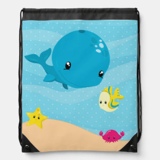 Underwater animals drawstring bag