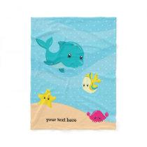 Underwater animals fleece blanket