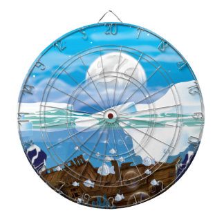 Underwater Arctic Shipwreck Dartboard With Darts