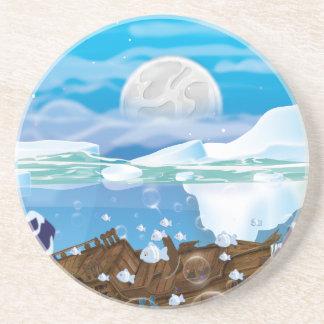 Underwater Arctic Shipwreck Drink Coaster