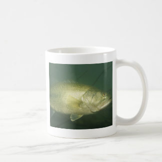 underwater bass fishing scene coffee mug