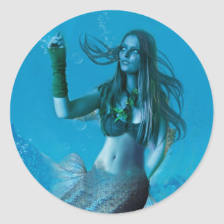 Underwater Beauty (Stickers) Classic Round Sticker