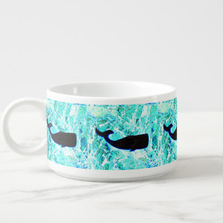 underwater black whale swimming bowl