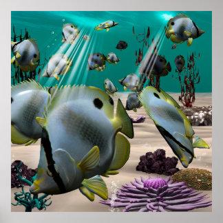 Underwater, butterfly fish print