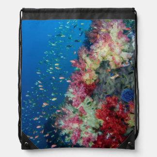 Underwater coral reef, Indonesia Drawstring Backpack