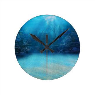 Underwater Coral Reef Towers Round Clock