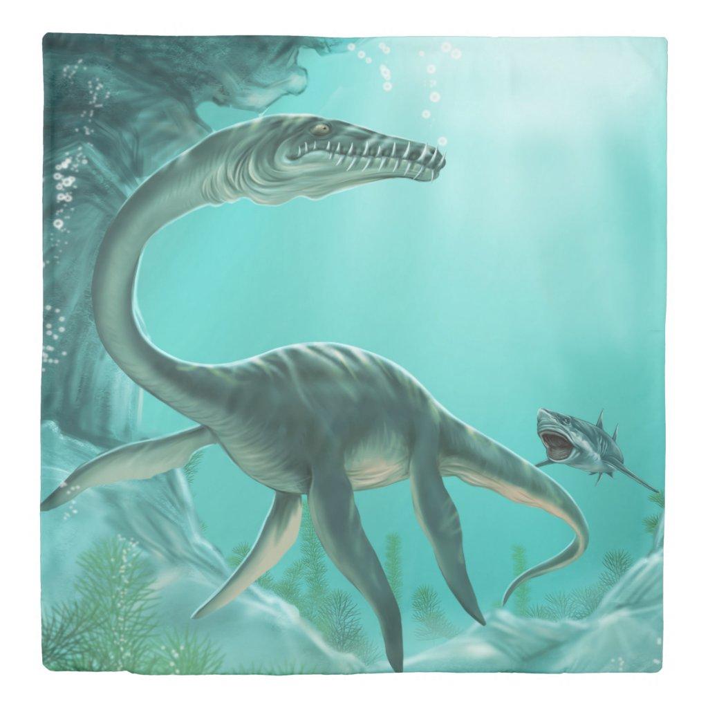Underwater Dinosaur (2 sides) Queen Duvet Cover