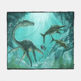 Underwater Dinosaur Fleece Blanket