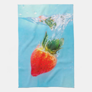 Underwater Diving Strawberry Kitchen Towel