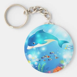 Underwater dolphin artwork design basic round button keychain