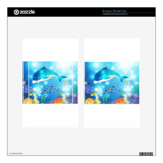 Underwater dolphin artwork design decals for kindle fire