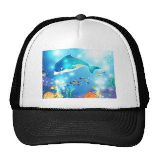 Underwater dolphin artwork design trucker hat