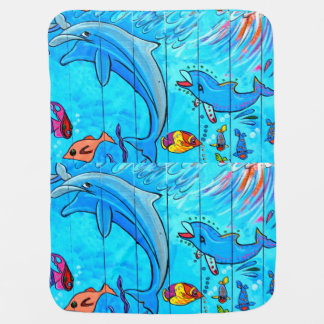 underwater dolphins burp cloth stroller blanket
