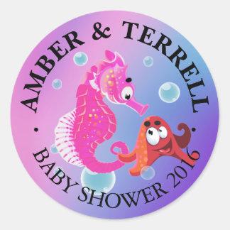Underwater Fantasy Baby Shower   pink purple blue Classic Round Sticker
