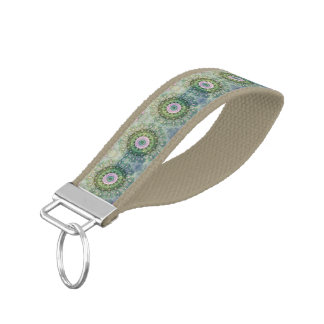 Underwater Fantasy Circle Pattern, Lilac and Green Wrist Keychain