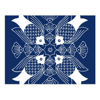 Underwater Fish Design with Blue Background Postcard