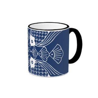 Underwater Fish Design with Blue Background Ringer Mug