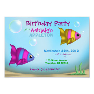 Underwater Fish - Kids Birthday Party Invitations