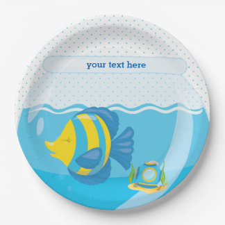 Underwater fish paper plate