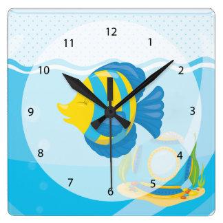 Underwater fish square wall clock