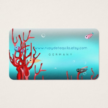 Professional Business Underwater Fishes Red Coral Turquoise Business Card