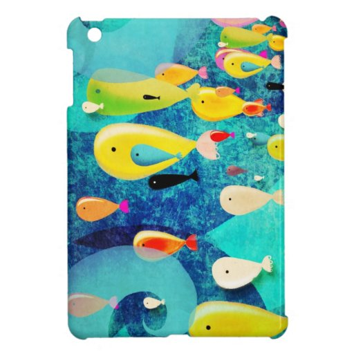 Underwater Fishes Surfing Waves iPad Mini Cover
