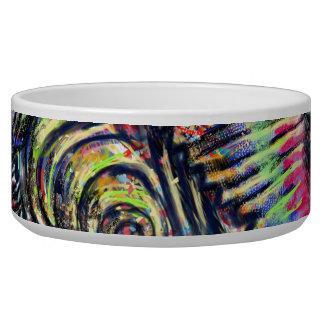 """Underwater Flow"" abstract art pet food bowl"