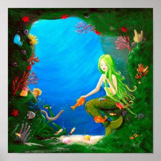 Underwater Friends   Little Mermaid Nursery Poster