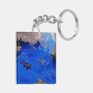 Underwater image of fishes keychain