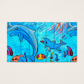underwater laughing dolphins business card