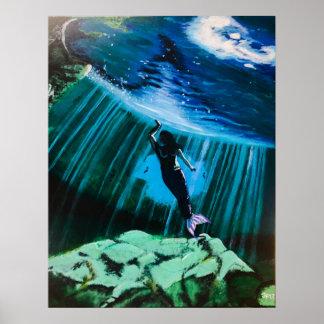Underwater Mermaid By John Fermin Poster