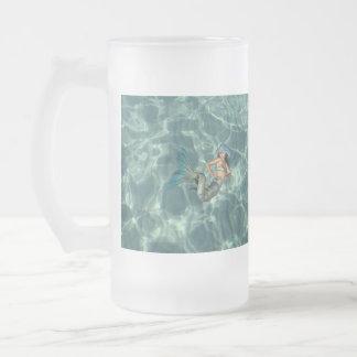 Underwater Mermaid Frosted Glass Beer Mug