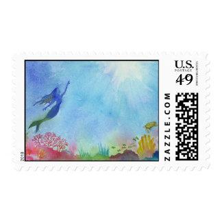 Underwater Mermaid Postage Stamp