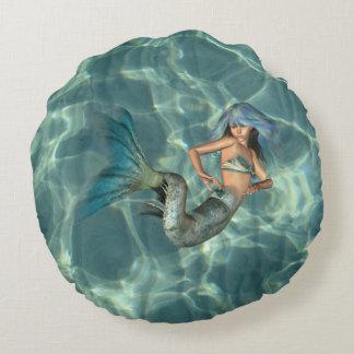 Underwater Mermaid Round Pillow