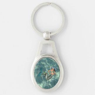 Underwater Mermaid Silver-Colored Oval Metal Keychain