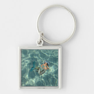 Underwater Mermaid Silver-Colored Square Keychain