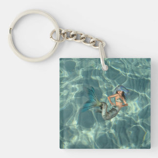 Underwater Mermaid Single-Sided Square Acrylic Keychain