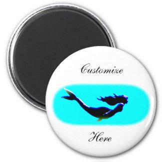 underwater mermaid swimming 2 inch round magnet