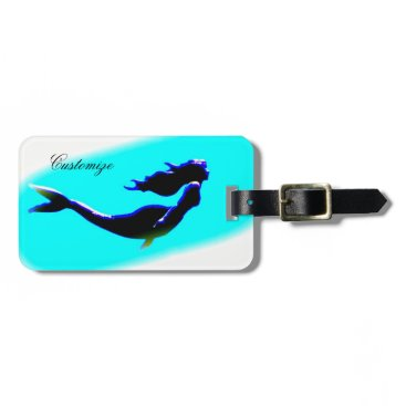 Beach Themed underwater mermaid swimming customized luggage tag