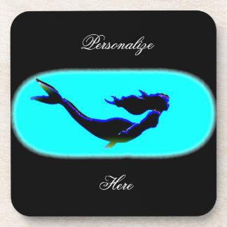 underwater mermaid swimming drink coaster