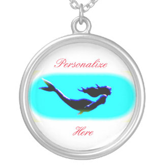 underwater mermaid swimming silver plated necklace