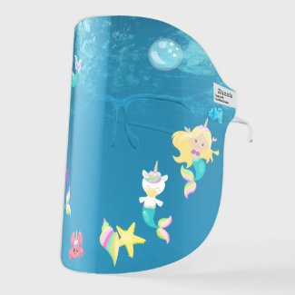 Underwater Mermaid Unicorn Cute Kids Face Shield