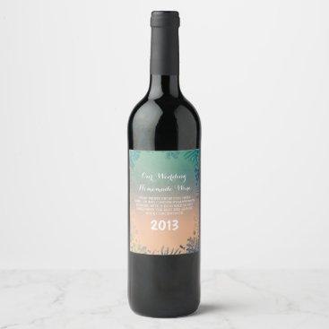 Beach Themed Underwater Ocean Treasures Beach Wedding Wine Label