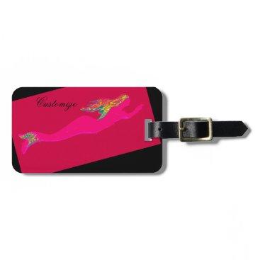 underwater pink mermaid swimming black bag tag