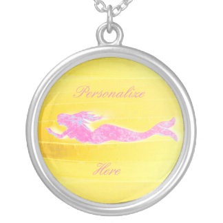 underwater pink mermaid swimming silver plated necklace